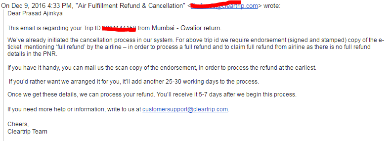 Dec 9th: Email from Cleartrip Team